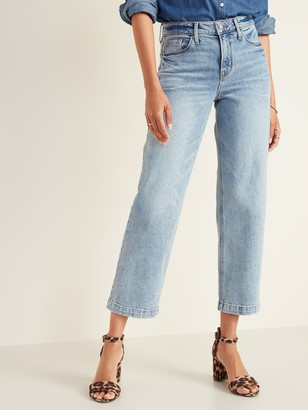 Old Navy High-Waisted Light Stone-Washed Slim Wide-Leg Jeans For Women
