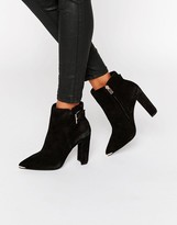 Ted Baker Maryne Buckle Point Suede Heeled Ankle Boots