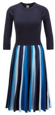 BOSS Long-sleeved knitted dress in mixed-structure block stripes