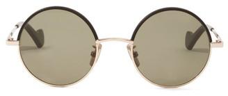 Loewe Leather-rim Round Metal Sunglasses - Brown