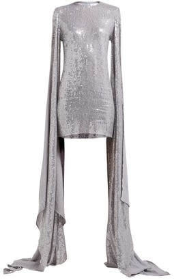 Ashish Luna Sequinned Drape-sleeve Mini Dress - Silver