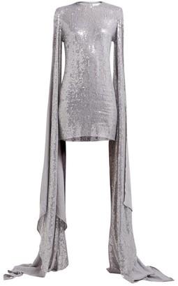 Ashish Luna Sequinned Drape-sleeve Mini Dress - Silver