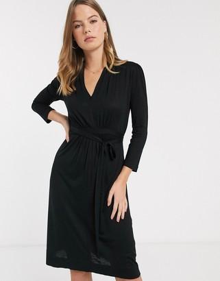 French Connection Brunella tie waist dress-Black