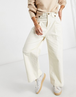 Monki Naomi cotton wide leg corduroy pants in white