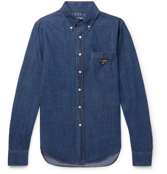 Prada Slim-Fit Button-Down Collar Logo-Appliqued Denim Shirt