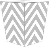 The Well Appointed House Grey Chevron Grande Decoupage Wastebasket with Optional Tissue Box