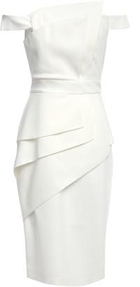 Black Halo Eve By Laurel Berman La Reyna Off-the-shoulder Layered Crepe Dress
