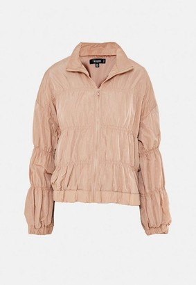 Missguided Blush Ruched Detail Bomber Jacket