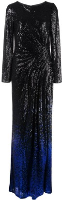 Tadashi Shoji Melati gradient glitter evening dress