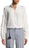 Figue Amelia Long-Sleeve Ruffle Tonal Embroidered Tunic