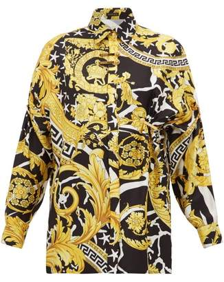 Versace Baroque-print Silk-twill Shirt - Womens - Black Gold
