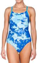 Arena Blue Abstract Back-Cutout One-Piece - Women