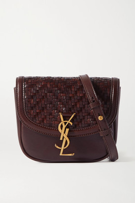 Saint Laurent Kaia Small Woven Leather Shoulder Bag - Brown
