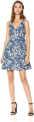 Nicole Miller Women's fit and Flare Dress with Embroidery