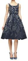 Oscar de la Renta Sleeveless Floral-Embellished Dress, Navy/Silver