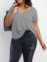 Charlotte Russe Plus Size Striped Scoop Neck Tee