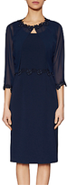 Gina Bacconi Crepe Dress And Chiffon Jacket With Guipure Trim, Spring Navy