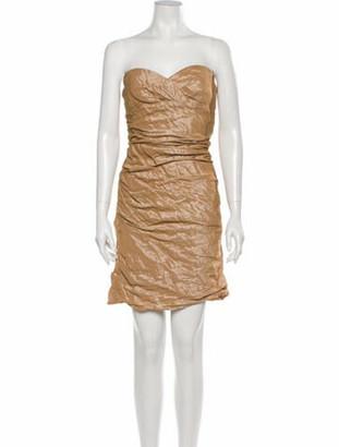 Carmen Marc Valvo Strapless Mini Dress Metallic