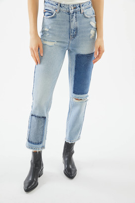 BDG High-Waisted Slim Straight Jean - Distressed Patchwork Denim
