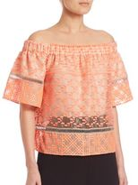 Jonathan Simkhai Off-The-Shoulder Bubble Embroidered Top