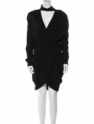 Versace Mock Neck Knee-Length Dress w/ Tags Black
