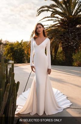 Pronovias Bianca Embellished Inset Long Sleeve Crepe Trumpet Wedding Dress