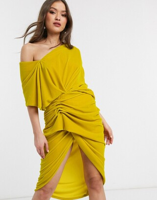 Asos Edition EDITION drape asymmetric midi dress in velvet-Yellow