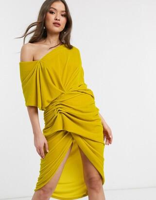 ASOS EDITION drape asymmetric midi dress in velvet