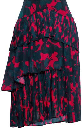 Jason Wu Tiered Pleated Floral-print Georgette Skirt