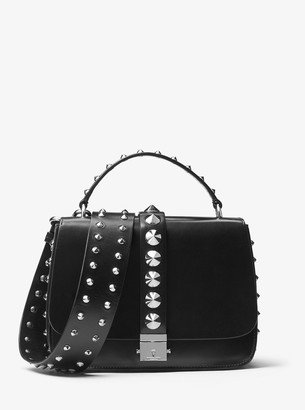 Michael Kors Mia Studded Calf Leather Shoulder Satchel