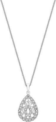 Love Gold 9ct White Gold Diamond Teardrop Pendant Necklace