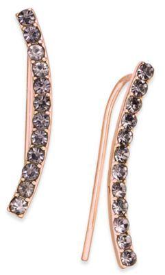 INC International Concepts Rose Gold-Tone Hematite Pavé Ear Crawler Earrings, Created for Macy's
