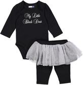 Vitamins Baby Black 'Little Black Dress' Bodysuit & Skirted Leggings - Infant