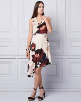 Le Château Floral Print Crepe de Chine Halter Dress