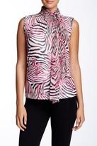 Grayse Zebra Print Tie Sleeveless Blouse