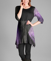 Aster Black & Purple Abstract Handkerchief Tunic - Plus Too
