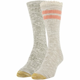 Gold Toe Women's Recycled Cable Stripe Crew Socks 2 Pairs