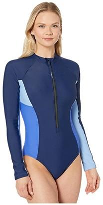 Speedo Zip Front Paddle Suit (Peacoat) Women's Swimwear Sets