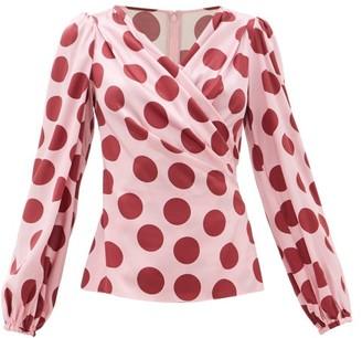 Dolce & Gabbana Polka-dot Silk-blend Satin Blouse - Womens - Pink Multi