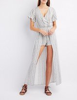 Charlotte Russe Printed Flutter Sleeve Maxi Romper