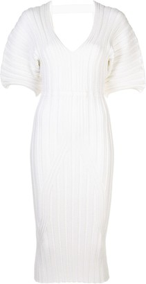 Cushnie Ribbed V-Neck Dress