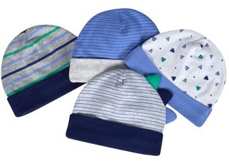 Just Born Organic Baby Boys Caps, 4-Pack