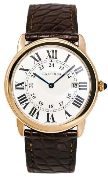 Cartier Ronde Solo 3602 W6700355 18K Rose Gold & Leather Quartz 36mm Unisex Watch