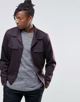 Asos Slim Fit Smart Jacket In Burgundy With Utility Pockets