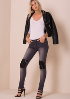 Missy Empire Whitney Faded Black Sequin Knee Panel Skinny Jeans