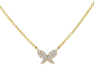 Adina's Jewels 14k Pave-Set Butterfly Pendant Necklace