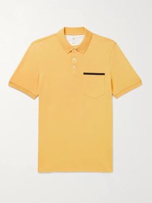 Brunello Cucinelli Slim-Fit Grosgrain-Trimmed Cotton-Pique Polo Shirt
