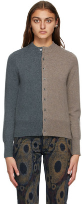 Extreme Cashmere Beige and Brown Cashmere Little Game Cardigan