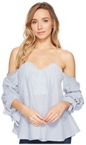 Romeo & Juliet Couture Off Shoulder Stripe Tope with Bow Detail
