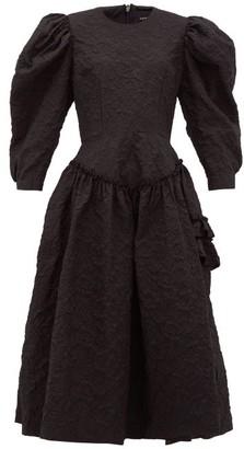 Simone Rocha Floral-cloque Ruffled Dress - Womens - Black